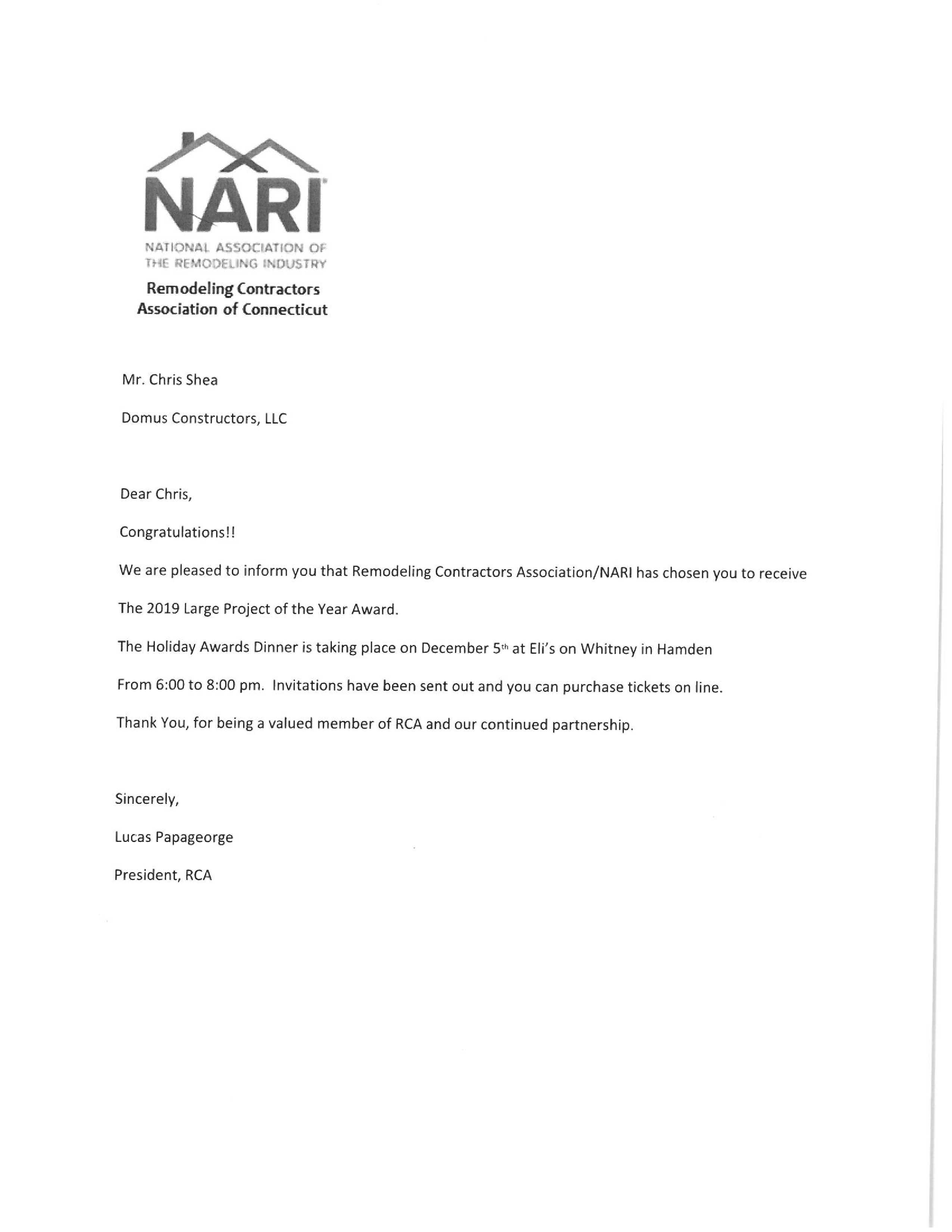 2019 NARI Awards Recognition